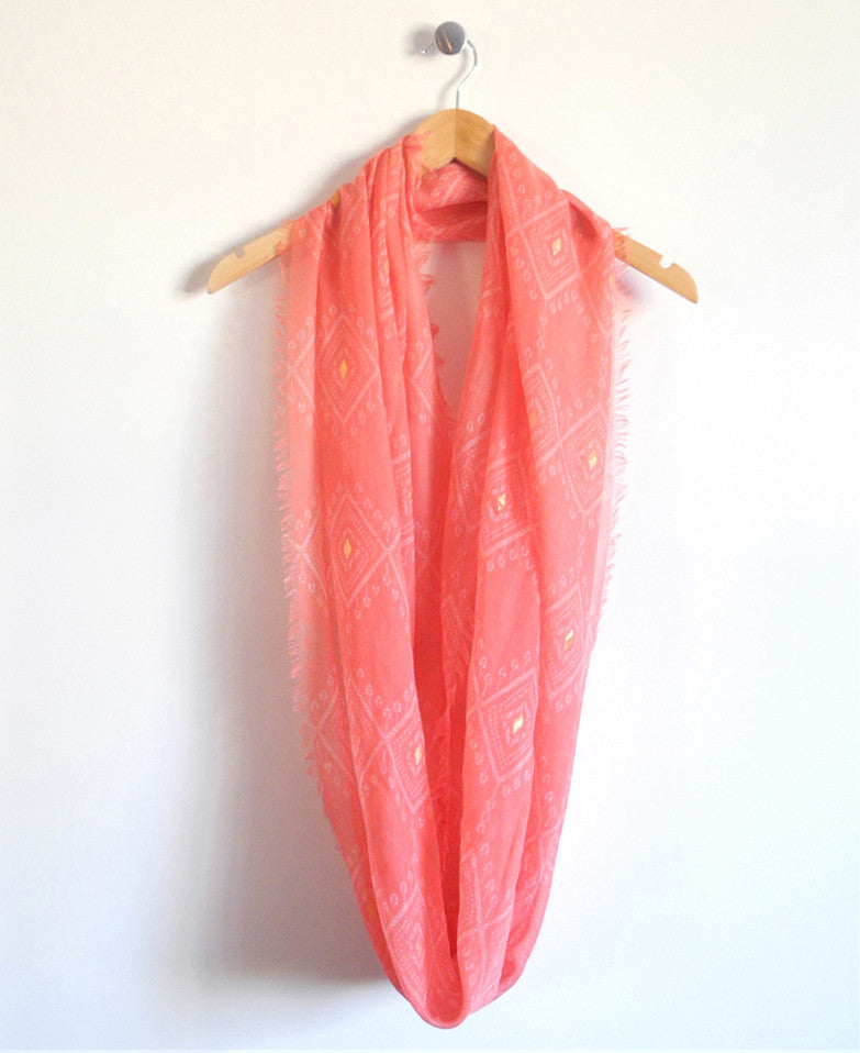 Crosstown Infinity Scarf in Coral