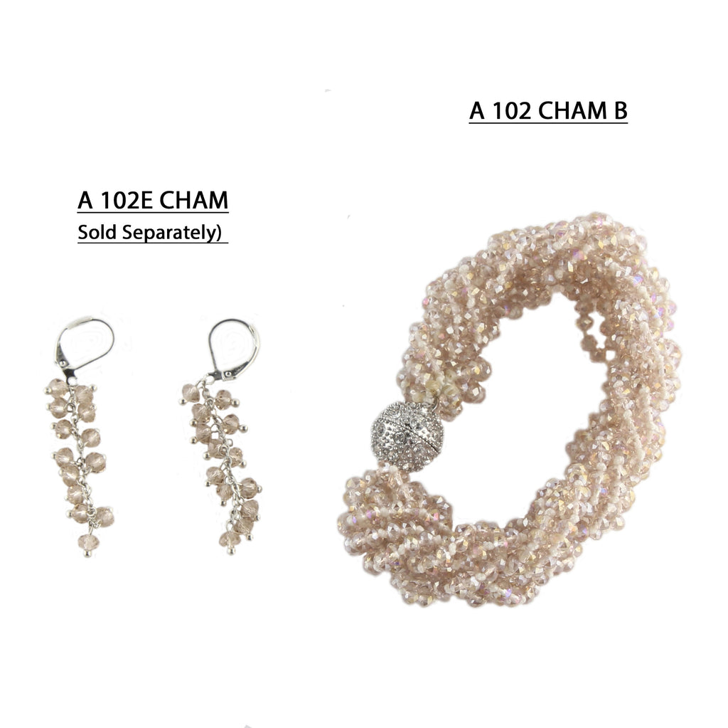 Handmade Knotted and Braided strands of faceted Champagne Crystals with strong Pave Magnetic clasp Bracelet.