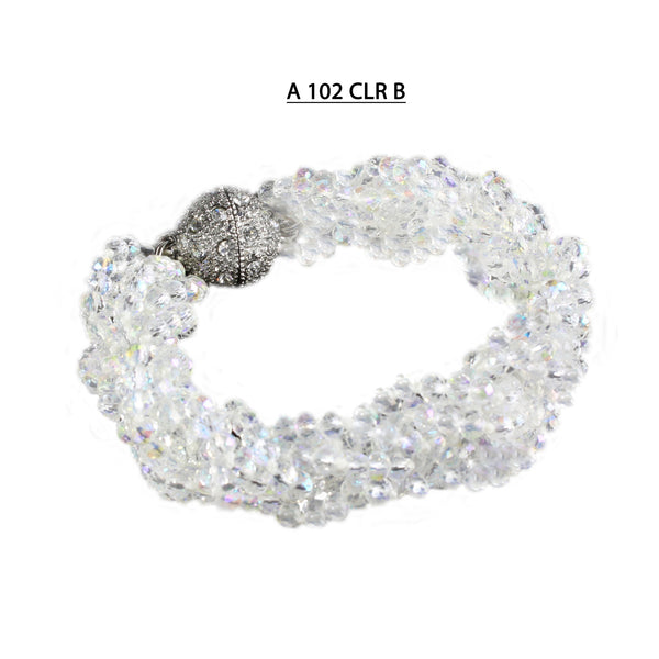 Handmade Knotted and Braided strands of faceted Clear AB Crystals with strong Pave Magnetic clasp Bracelet.