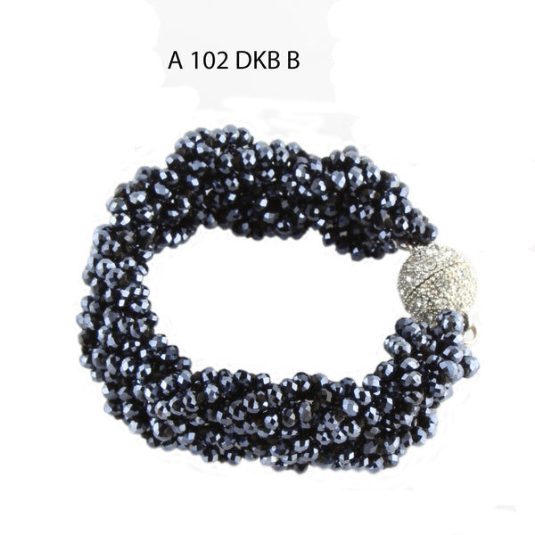 Handmade with Multiple Strands of Braided Faceted Dark Blue Crystals Bracelet