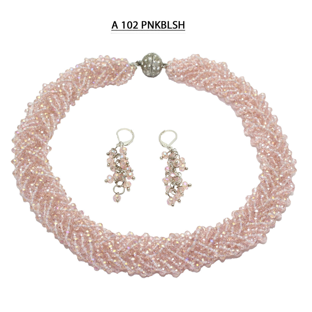 Handmade with Multiple Strands of Braided Faceted Pink Blush Crystals Necklace Set.
