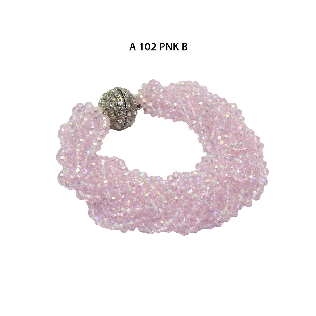 Handmade with Multiple Strands of Braided Faceted Pink Crystals Bracelet.