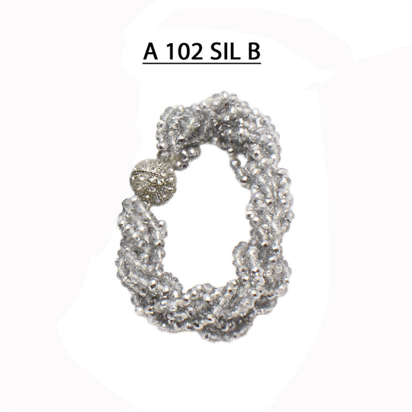 Handmade Knotted and Braided strands of faceted Silver Crystals with strong Pave Magnetic clasp Bracelet.