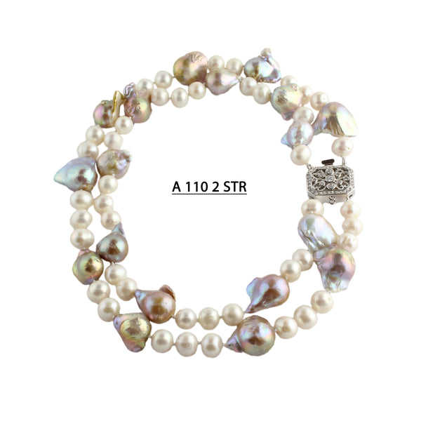 2 Strands of Baroque & Freshwater Pearls Necklace in Natural Champagnes, Whites and Bronze Necklace.