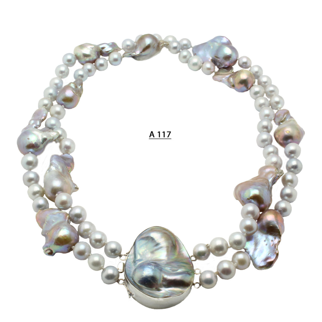 Fabulous Large Baroque Pearls mixed with 10 MM Gray Freshwater Pearls and Large Baroque SS Clasp