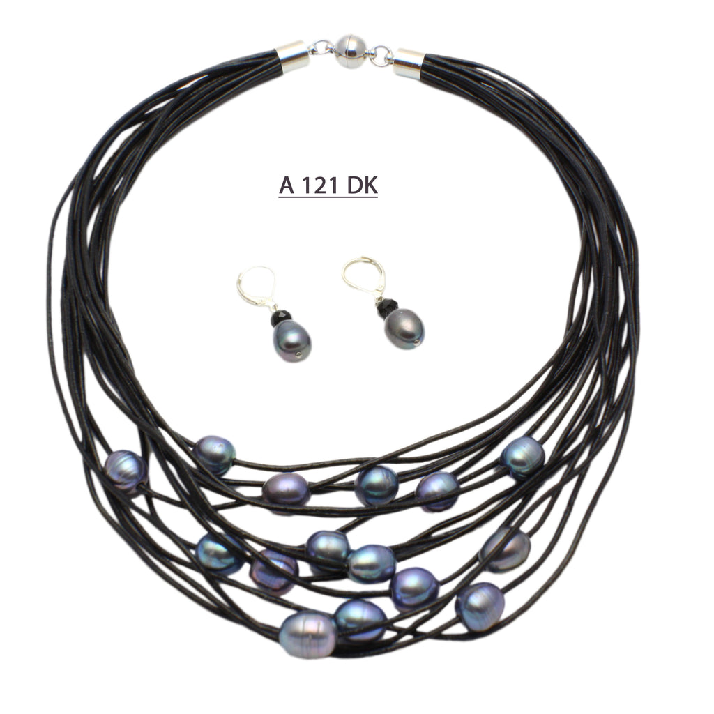 Sixteen Strands of Black Leather Cords with a 9-10 MM Black Freshwater Pearl on each strand.