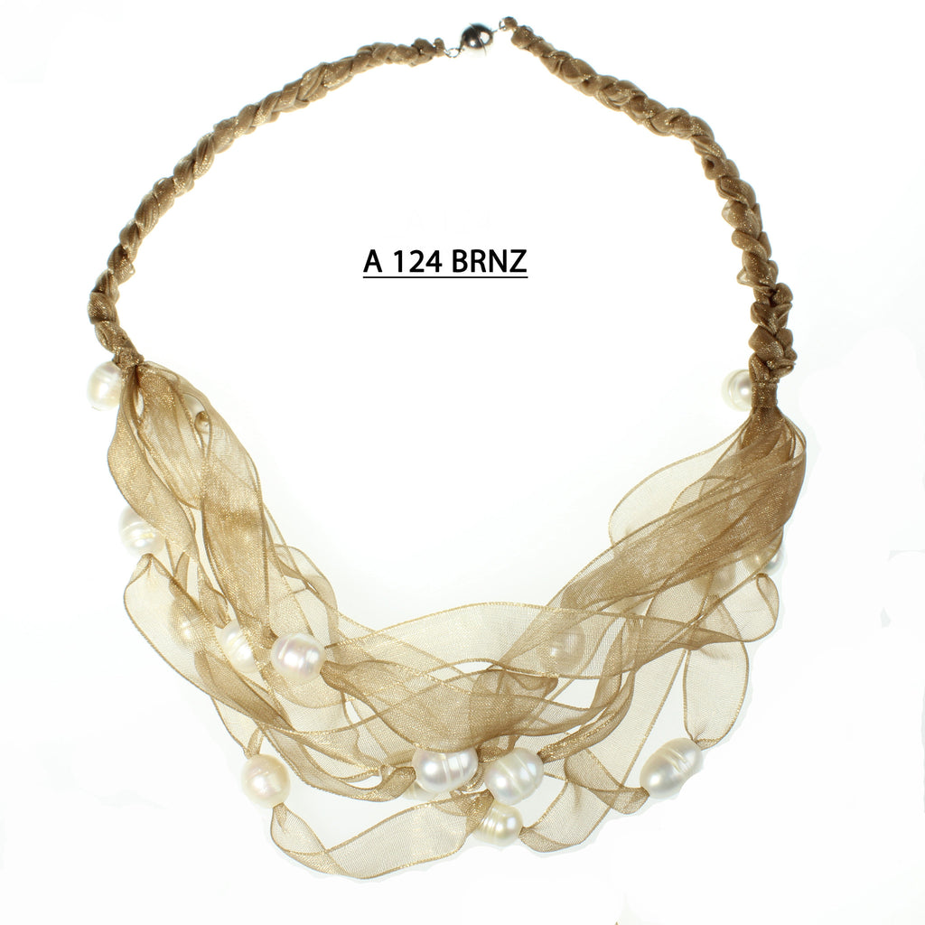 Braided Bronze Ribbons with Freshwater Pearls Necklace.