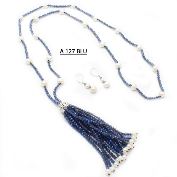 Freshwater Pearls, Delicate Blue Crystals with Tassels Necklace.