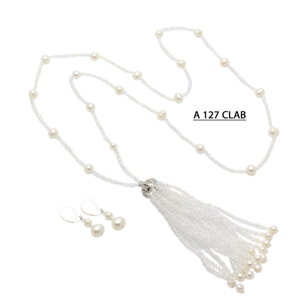 Freshwater Pearls, Delicate Clear AB Crystals with Tassels Necklace.
