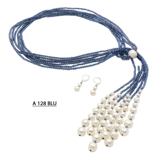 Three strands Dark Blue crystals with Freshwater Pearls Necklace