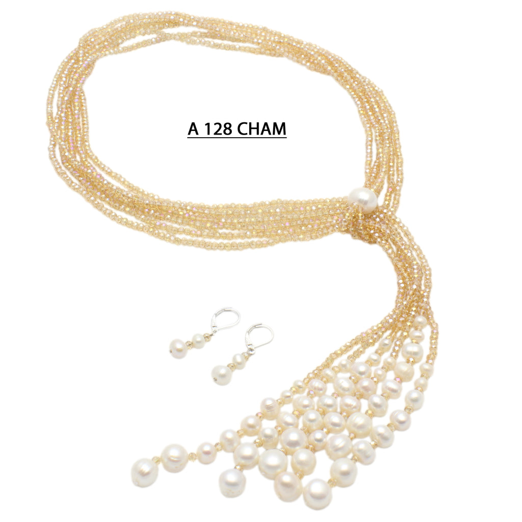 Three strands Champagne crystals with Freshwater Pearls Necklace