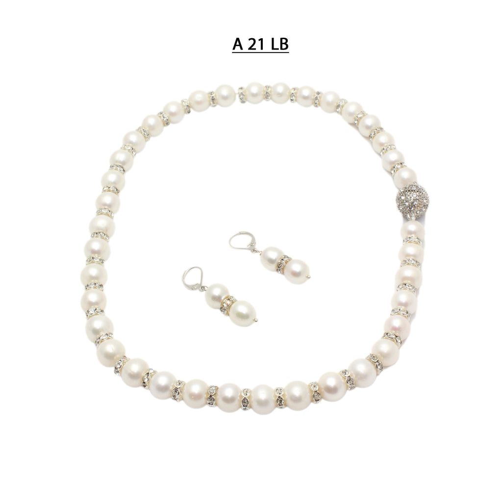 AA+ Freshwater Pearls and Rondells Necklace Set.