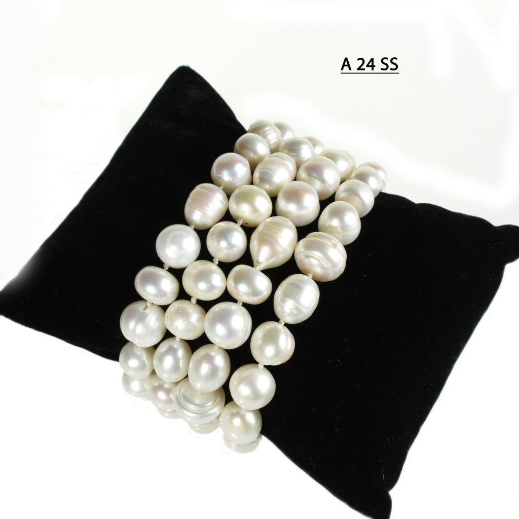 Freshwater Pearl Bracelets, Chunky, Baroque and Round Pearls with SS 925 Clasp.