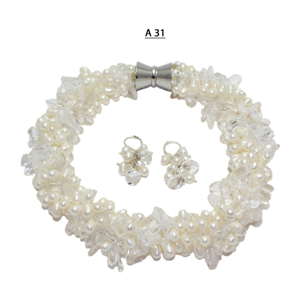 Four Strands of Freshwater Potato Pearls and Two Strands of Clear Crystals Twisted Necklace Set.