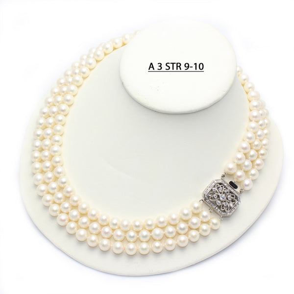 A 3 STR 9-10MM Three Strands of AAA Quality Cultured Freshwater Pearls with Vintage Style Clasp.