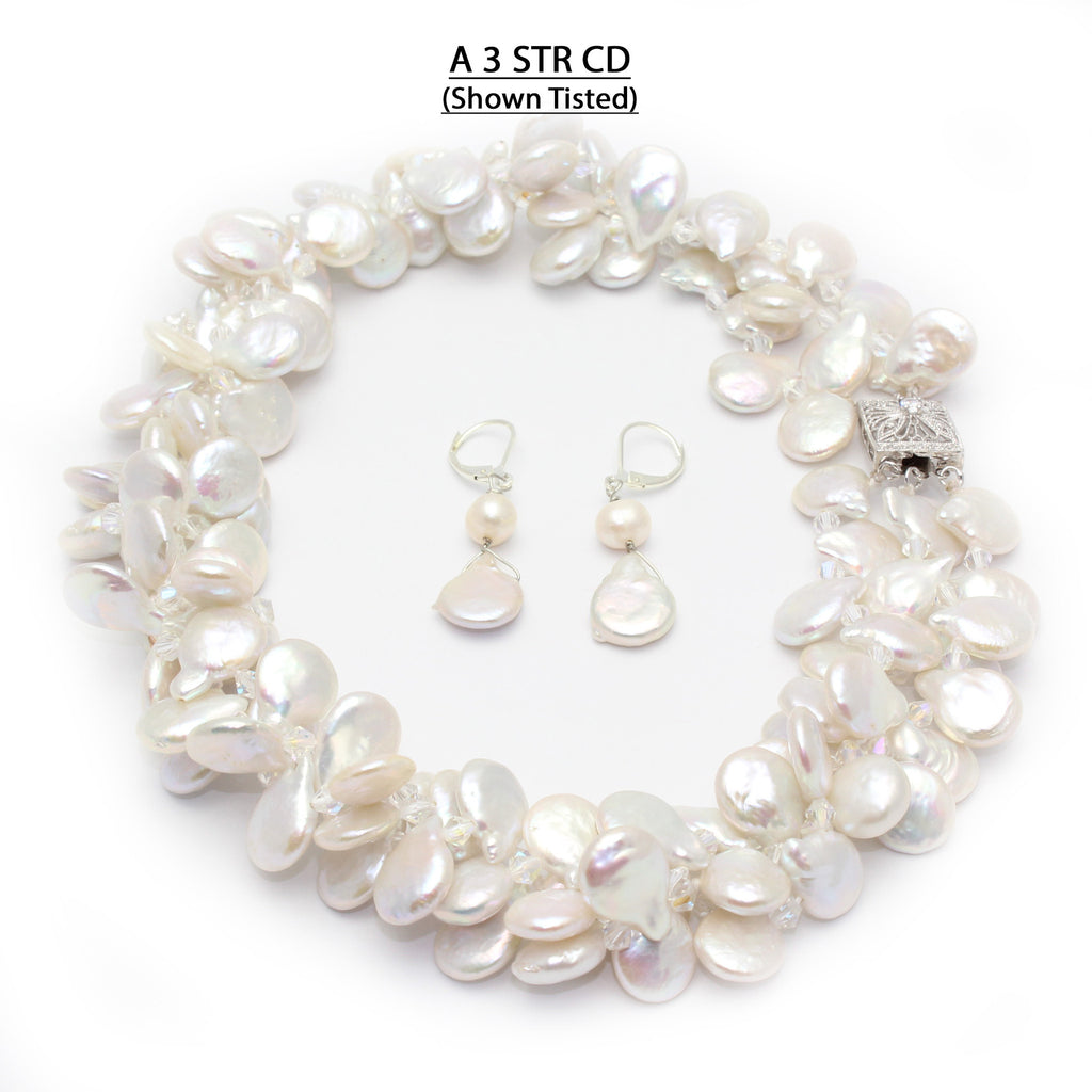 Triple Strand Coin Drop Pearls Necklace