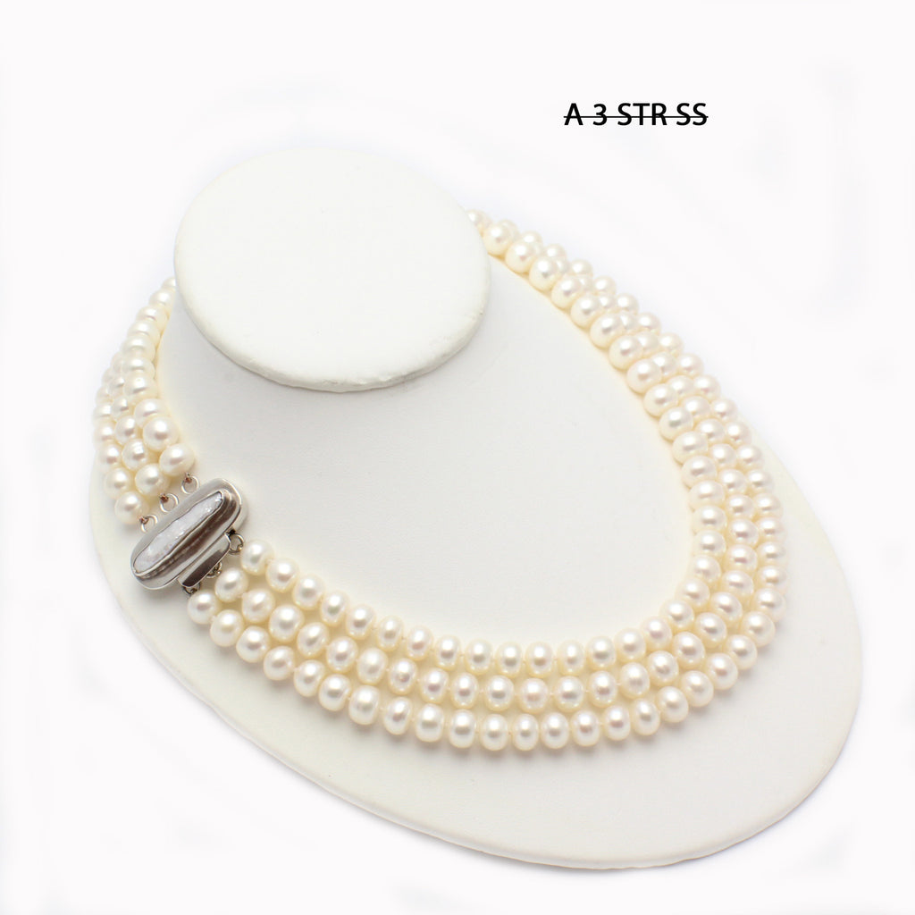 Triple Strand of Button Pearls Necklace with Unique Stick Pearl SS 925 Clasp