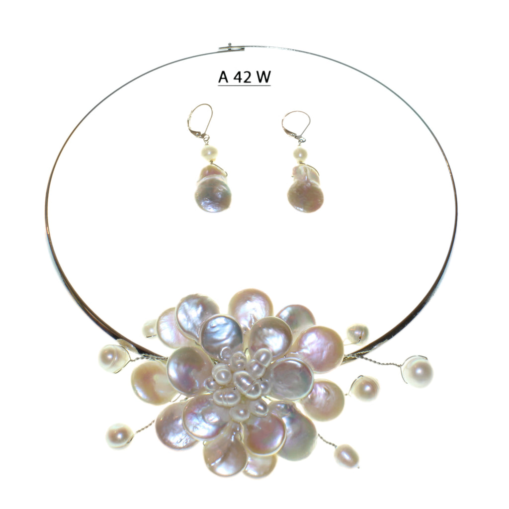 Fun to Wear Collection, White Coin Pearls and Freshwater Pearls necklace set.