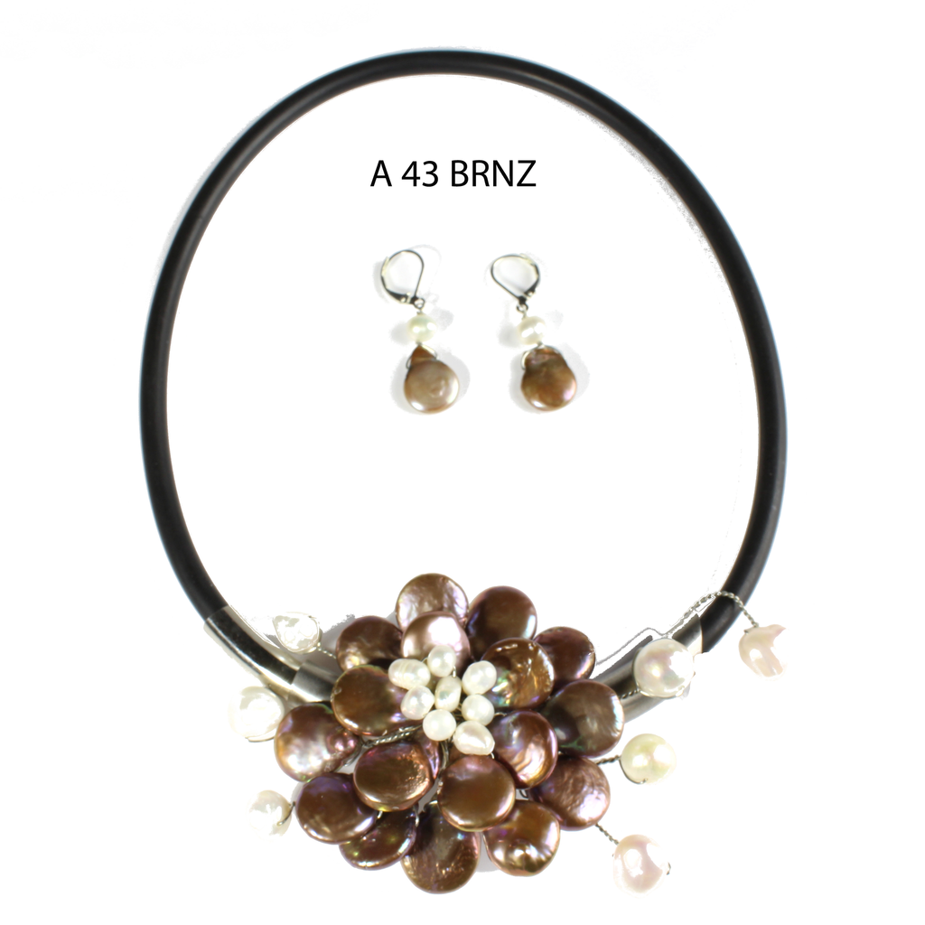 Fun to Wear Collection, Bronze Coin Drop Pearls and White Freshwater Pearls Necklace Set.