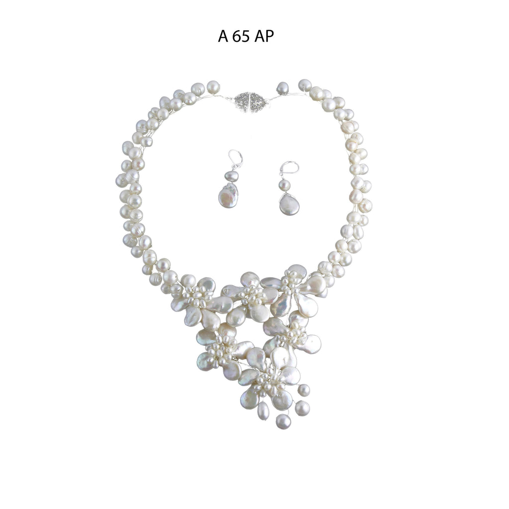 White Flowers of Natural Freshwater Coin Pearls and an abundance of Freshwater Pearls Necklace Set.