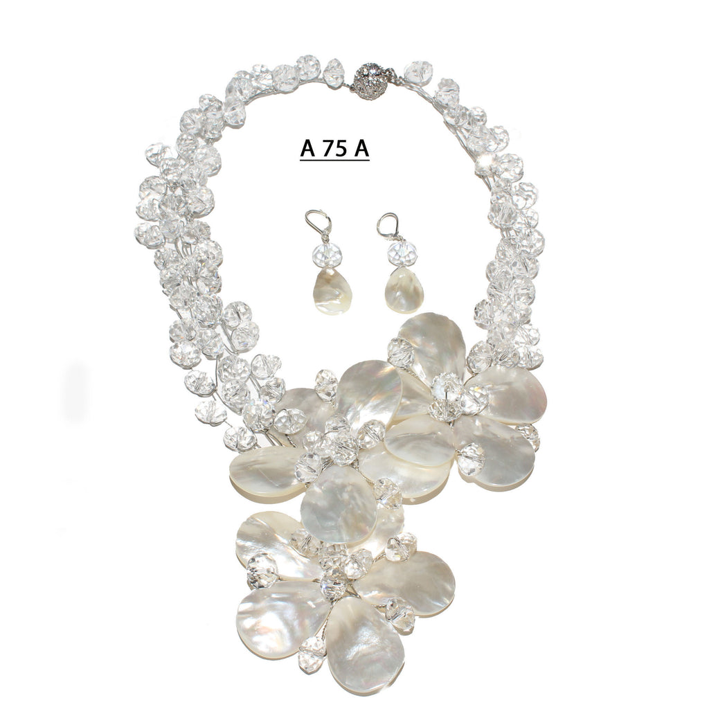 Three White Mother of Pearl Flowers with Clear AB Faceted Crystals Handmade Necklace Set
