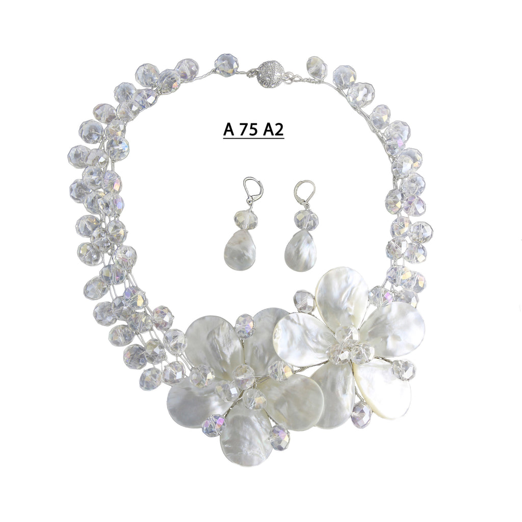 Two White Mother of Pearl Flowers with Clear AB Faceted Crystals Handmade Necklace Set