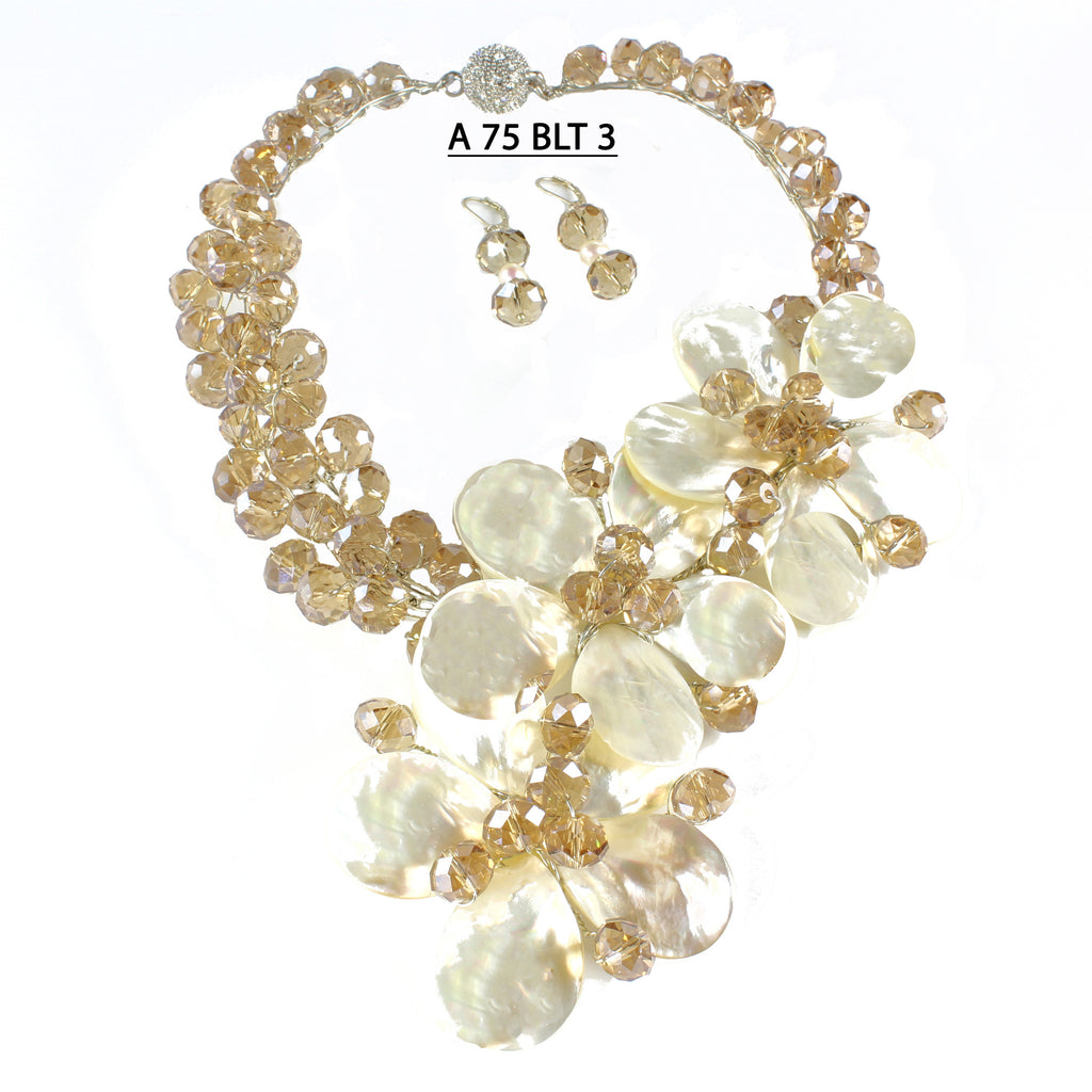Three White Mother of Pearl Flowers with Champagne Faceted Crystals Handmade Necklace Set