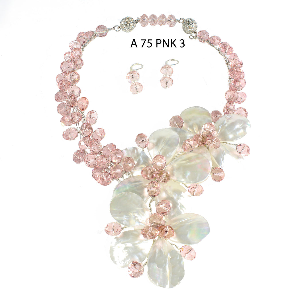 Three White Mother of Pearl Flowers with Pink Faceted Crystals Handmade Necklace Set
