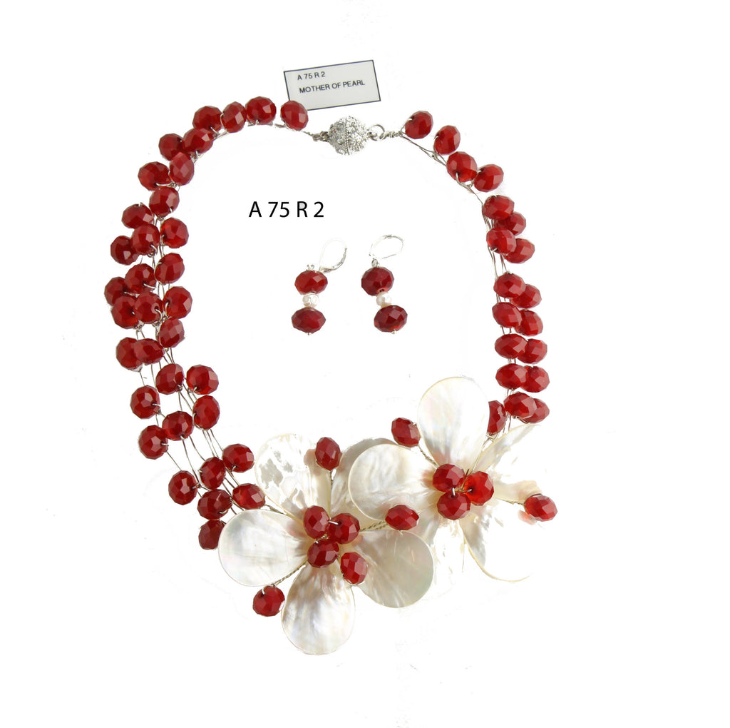 Two White Mother of Pearl Flowers with Red Faceted Crystals Handmade Necklace Set