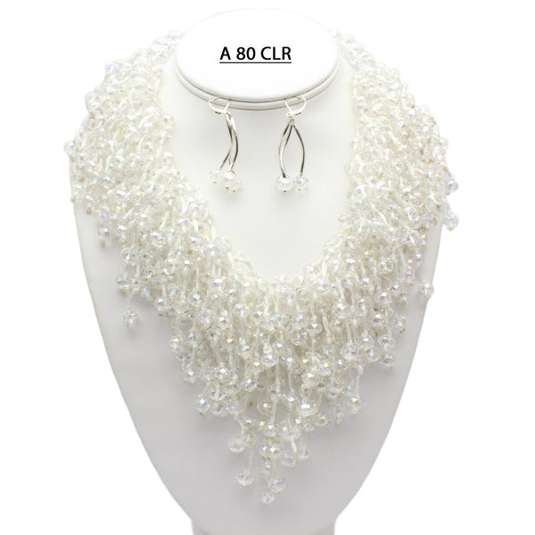 Handmade and Hand Knotted Elegant Faceted Clear AB Crystal V Neck Necklace set.