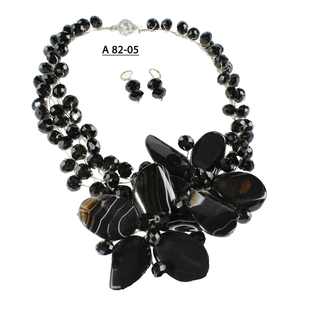 Two Black Onyx Flowers with Faceted Black Crystals Handmade Necklace set.