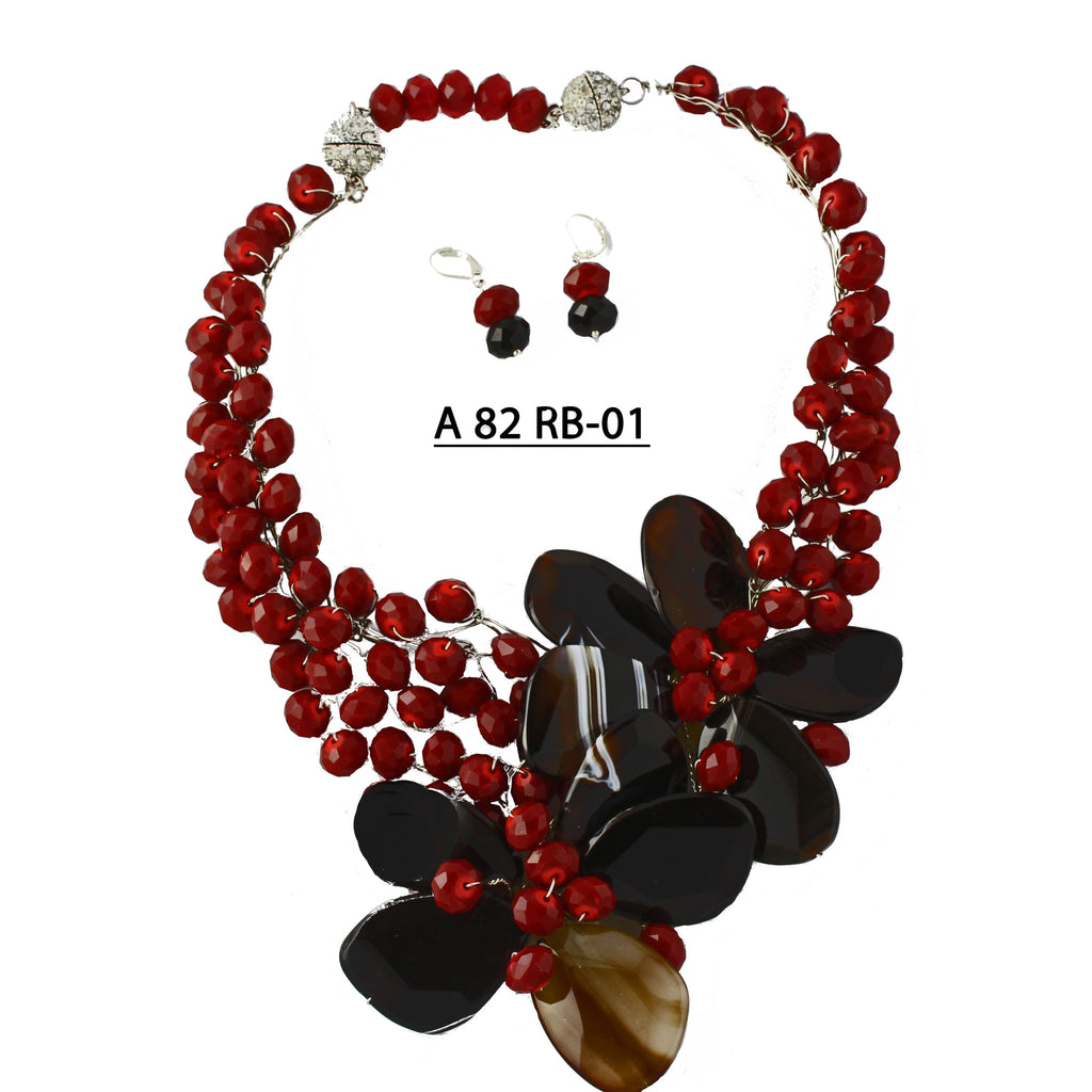 Two Black Onyx Flowers with Faceted Red Crystals Handmade Necklace set.