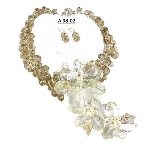 Champagne Crystal Flowers and Faceted Champagne Crystals  Statement Necklace Set.
