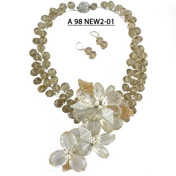 Clear Crystal Flowers and Faceted Champagne Crystals  Statement Necklace Set.