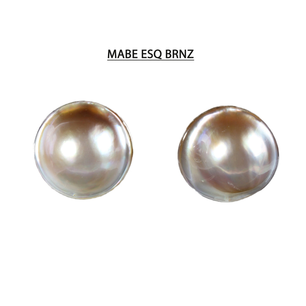 Stunning Champagne Bronze Mabe Pearl Earrings