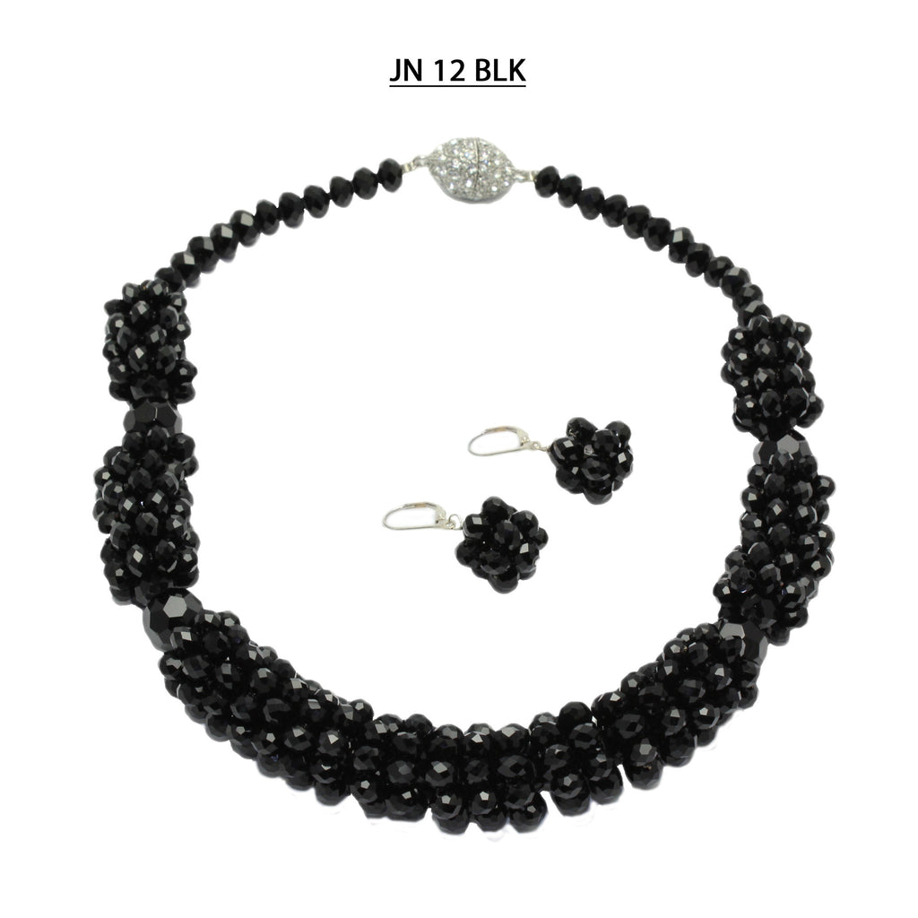 Rings of 6 MM Faceted Black Crystals separated by Larger Black Faceted Crystals Necklace Set..