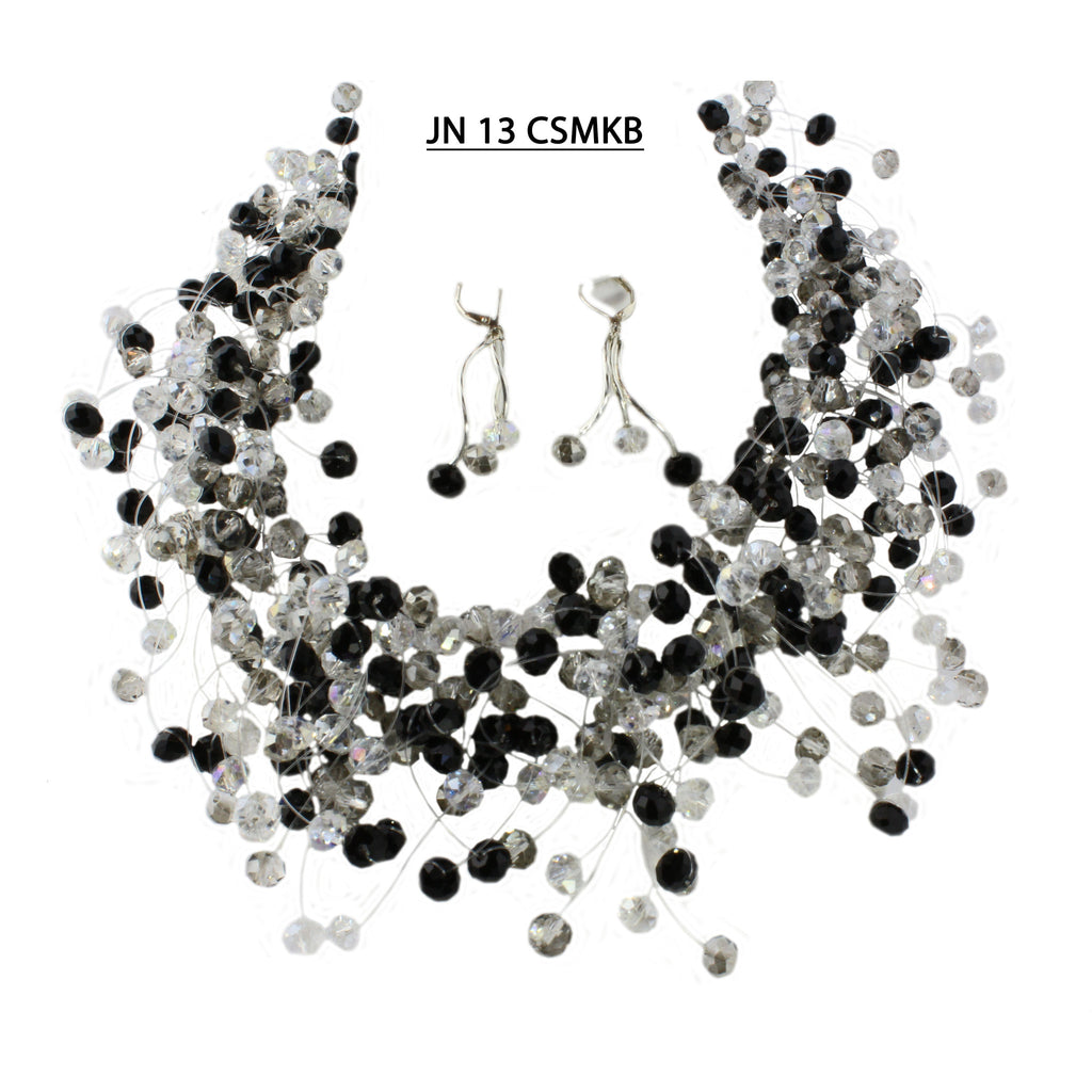 Handmade Clear AB, Smoke and Black Crystal Necklace set.
