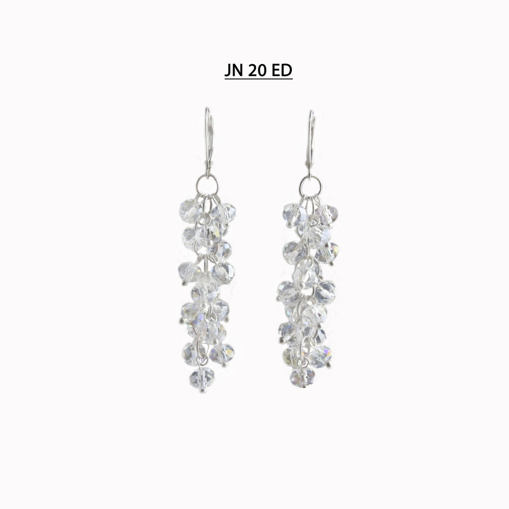 Clear Faceted Dangle Silver Lever Back Earrings