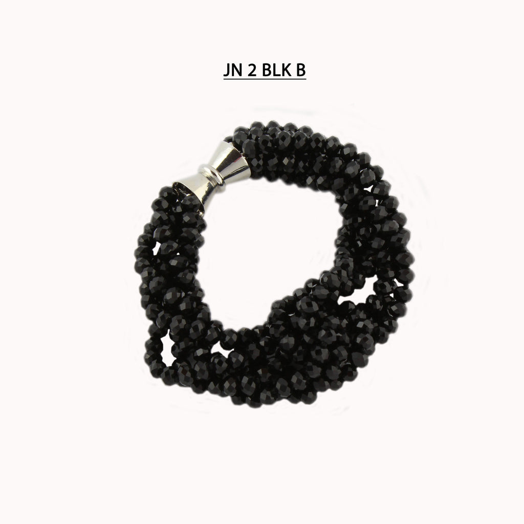 Multiple Strands of Black Faceted Crystals Bracelet.