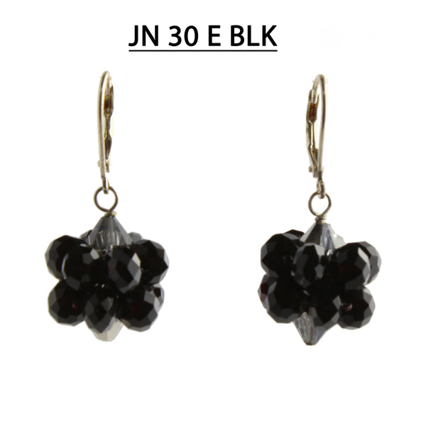 Black Faceted Crystals Sphere Shaped Earrings