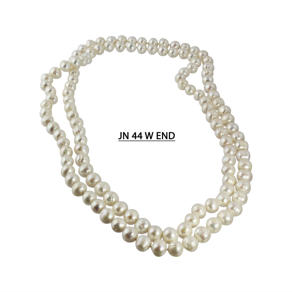 Hand Knotted 9-10 MM, AA White Cultured Freshwater Pearl Endless Strand in Lengths 48""