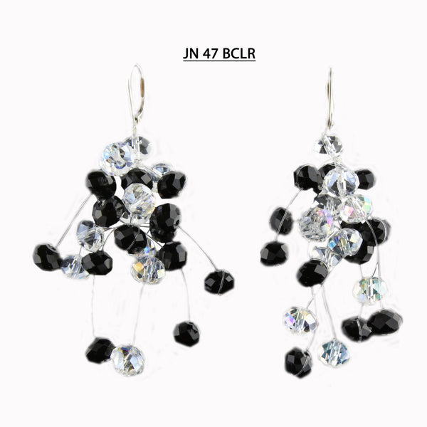 Handmade Black and Clear AB Faceted Crystal Silver Lever Back Earrings.