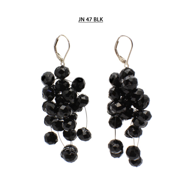 Black Faceted Crystal Silver Lever Back Earrings.