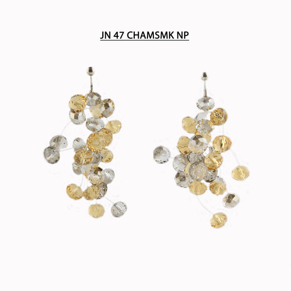 Faceted Crystal Earrings (non-pierced - screw back) in Champagne and Smoke.