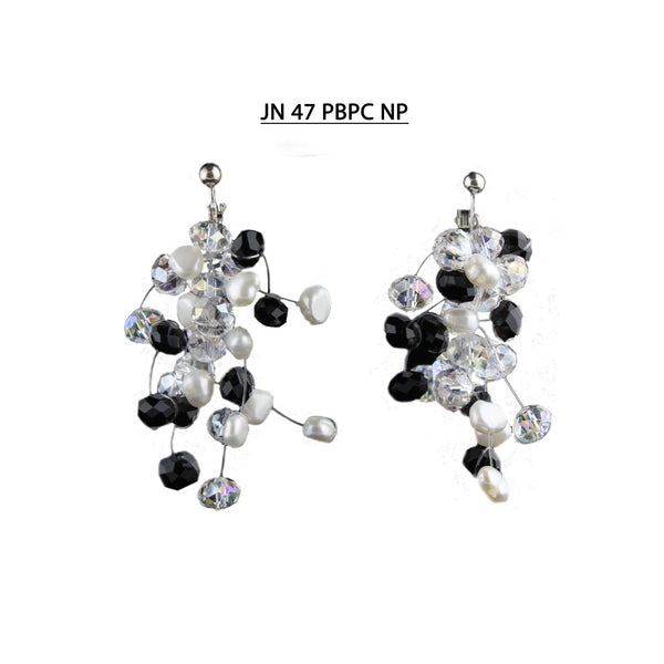 Faceted Black & Clear AB Crystals with White Freshwater Pearls Earrings (non-pierced - screw back).