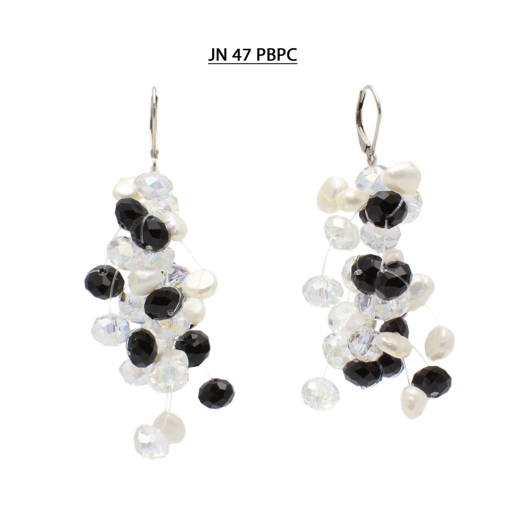 Black and Clear Faceted Crystals with White Freshwater Pearls  Silver Lever Back Earrings.