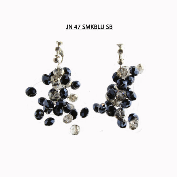 Handmade Sapphire Blue  and Smoke Faceted Crystal Screw Back (Non Pierced) Earrings.