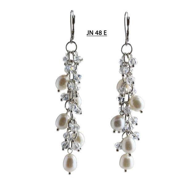 White Freshwater Pearls and Faceted Clear Crystal Earrings