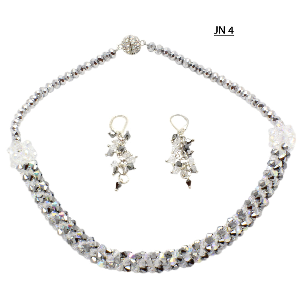Shimmering Faceted Clear AB and Graphite Toned Crystals Necklace Set.