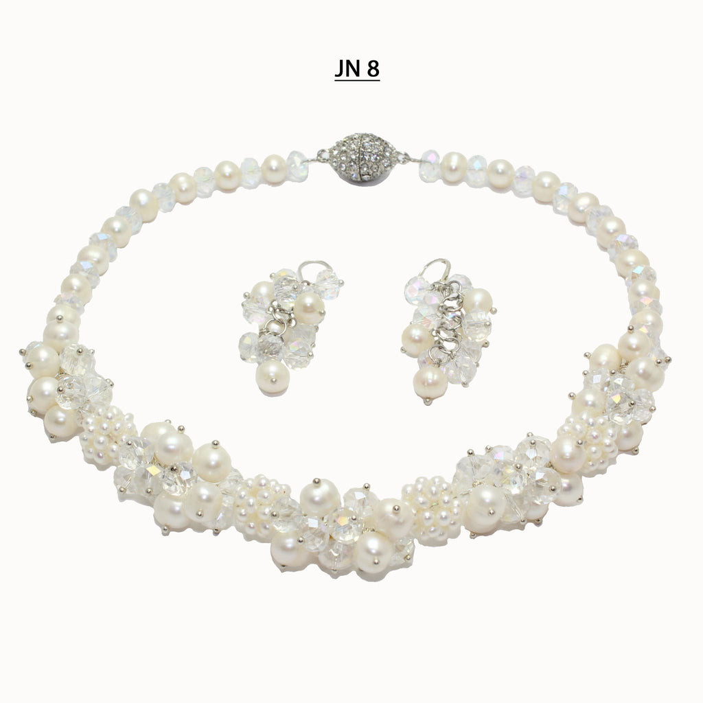 Freshwater pearls, clusters of small freshwater pearls and faceted clear crystals necklace set.